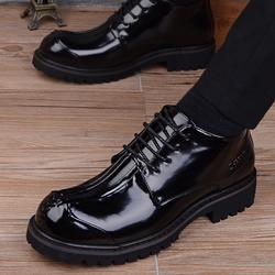 商务男士休闲高帮皮鞋韩版英伦厚底圆头皮鞋内增高大头皮鞋工装鞋