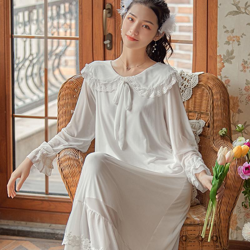 【WENS】2020秋季新品甜美蕾丝公主风仙女长睡裙网纱莫代尔女睡衣