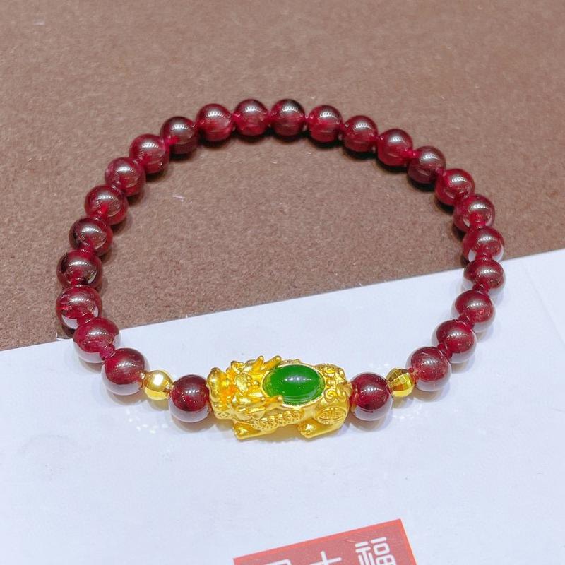999 full gold zigzag Bracelet female gold inlaid Hetian Jasper Picchu Garnet Bracelet 3D hard gold transfer beads