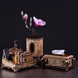 领5元券购买欧式复古纸巾盒美式奢华多功能遥控器收纳盒抽纸客厅复古茶几摆件