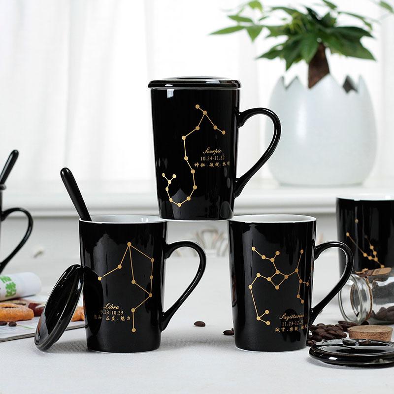 十二星座变色杯陶瓷马克杯星空咖啡水杯子送女生男孩朋友生日礼物