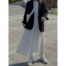 喵胖张桶桶大码微胖mm春款韩版高腰显瘦白色中长款泡泡袖连衣裙女