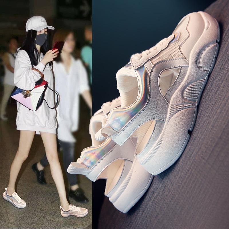 朵羚网红运动凉鞋女2020夏季新款韩版百搭镂空平底包头小白鞋学生