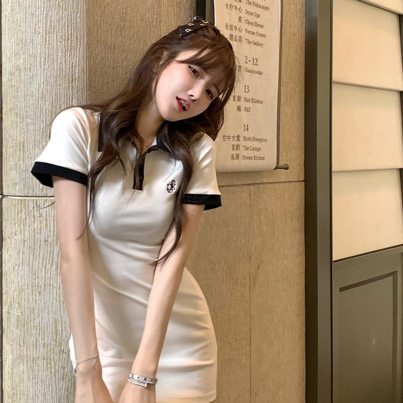大金家polo连衣裙女夏翻领纯欲辣妹修身包臀显瘦短款白色t恤裙子