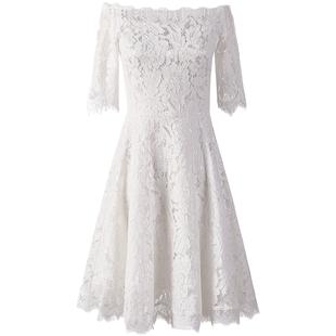 白色晚禮服女簡單大方氣質名媛宴會敬酒服伴娘裙子日常平時可穿的