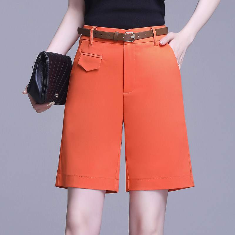 Womens five point short pants womens new style straight tube port style suit shorts with high waist and slim casual pants