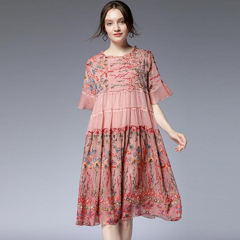 2020 summer new 200kg womens summer new slim Elegant Dress Chiffon embroidery skirt