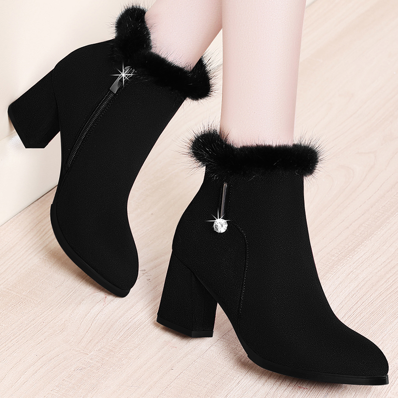 Thick sole medium heel short boots womens new winters thick heel suede boots with plush for womens frosted Martin boots
