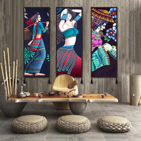 少数民族风情少女装饰布客厅墙布定制布艺壁毯玄关挂布民宿墙挂画