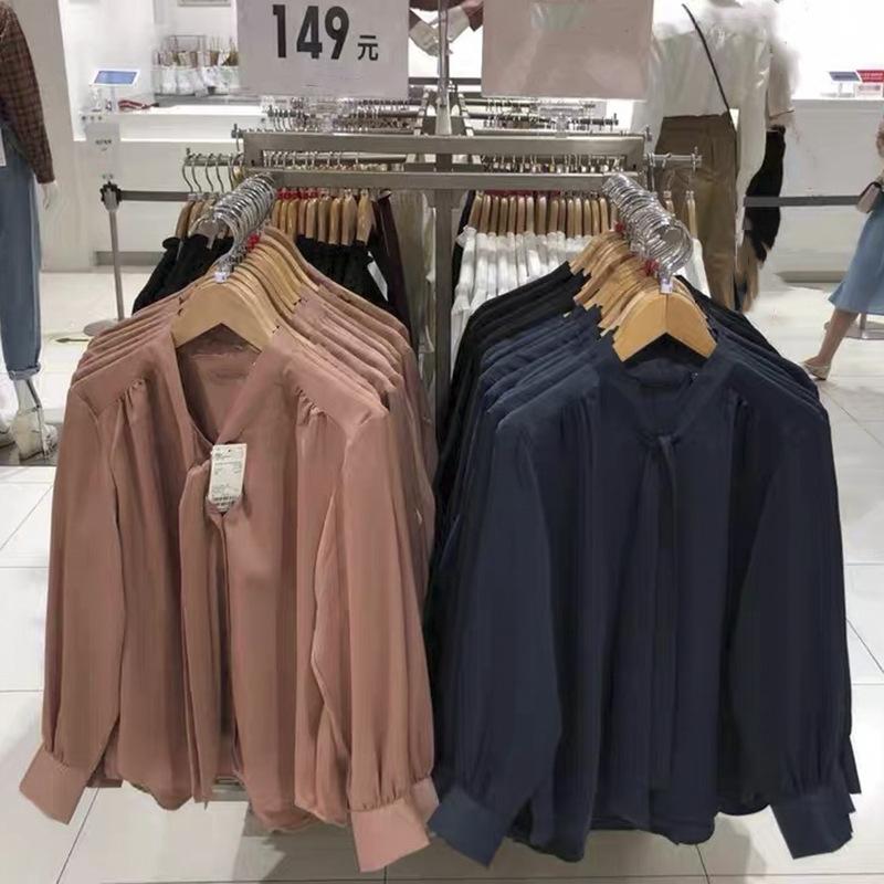 Japanese womens u home fitting room satin bow Neck Shirt 2021 autumn new design long sleeve top