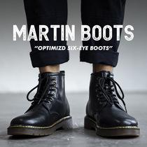 马丁靴男中帮工装靴英伦风高帮皮鞋潮男靴子秋季百搭短靴黑色皮靴