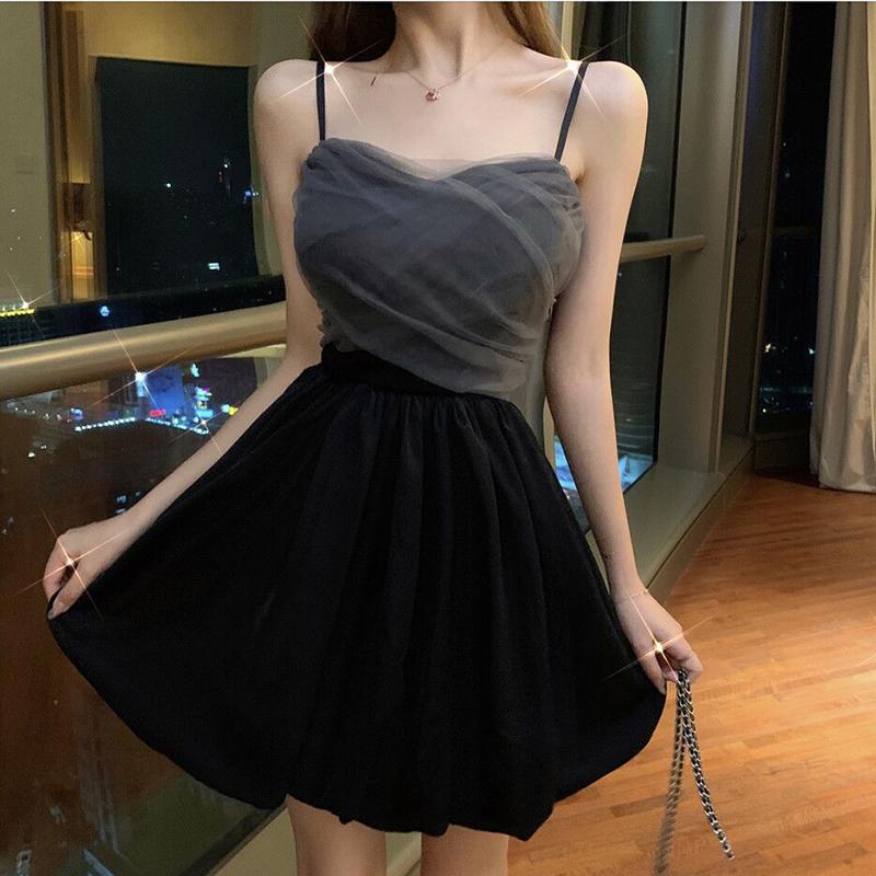 实拍新款时尚性感吊带网纱拼接收腰显瘦礼服蓬蓬连衣裙
