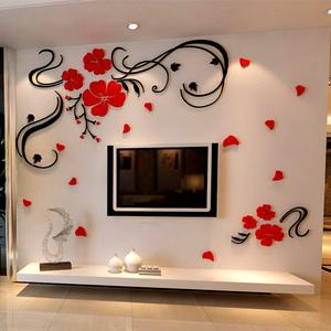 欢乐花藤3d亚克力水晶立体墙贴客厅电视背景墙玄关墙家居饰品墙贴