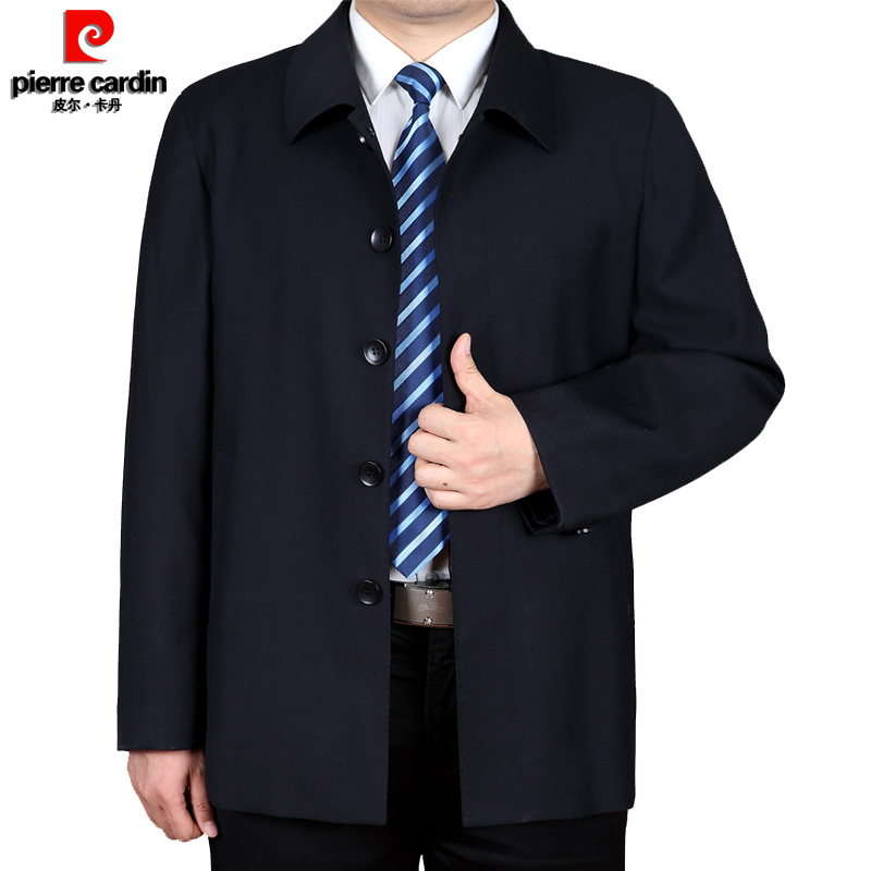 Pilcardan wool jacket mens fattening plus size fat middle aged and old age spring and autumn Lapel dad business coat