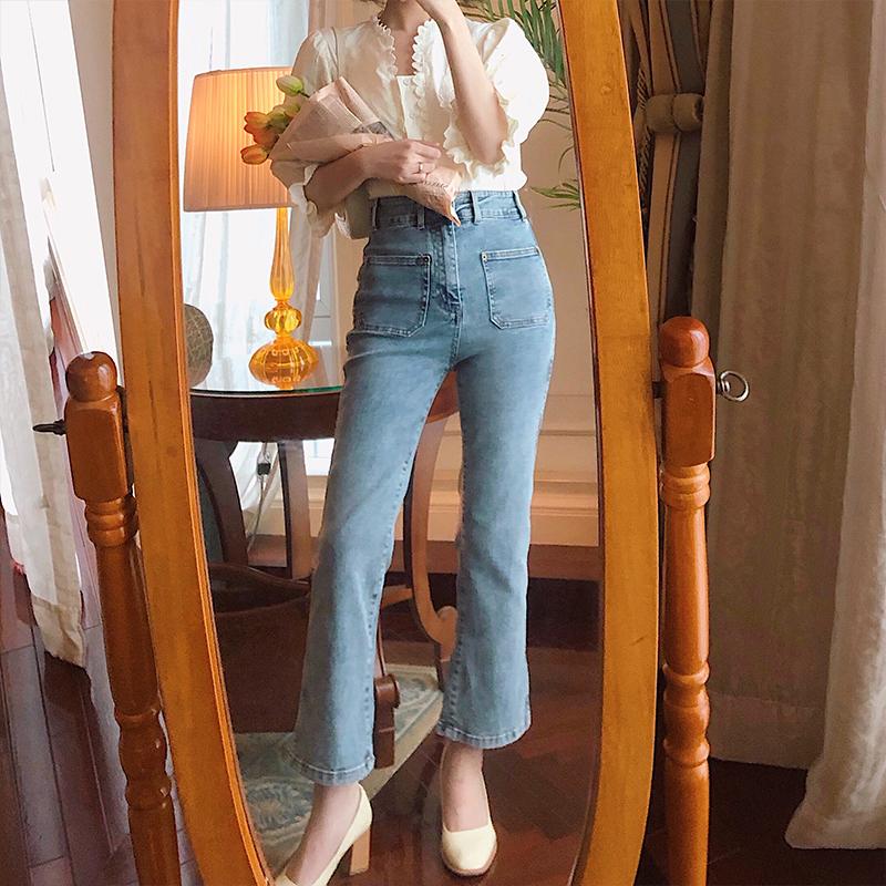 酒午微喇牛仔裤女2020新款韩版复古港风小众设计感高腰九分喇叭裤图片