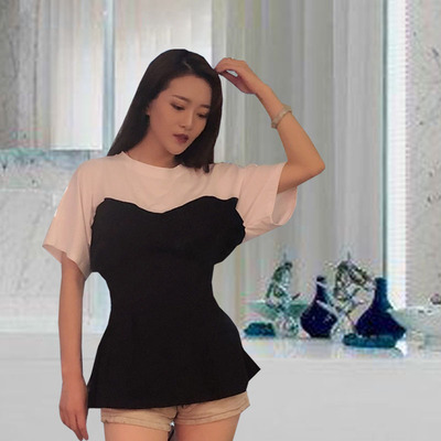 Hong Kong-style summer new fake two-piece tops stitching tube top Slim waist students handsome round neck short-sleeved T-shirt women