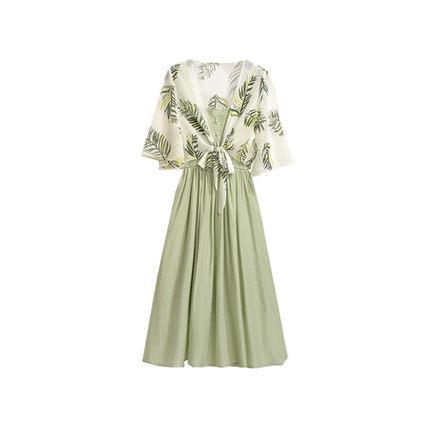 抹茶绿两件套夏季森系披肩配吊带裙