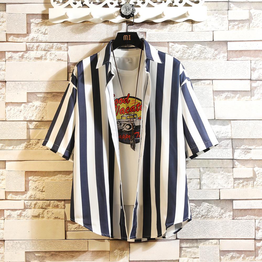 2019夏季新款短袖衬衫港风大码短衬衣条纹衬衫男 C033 P35