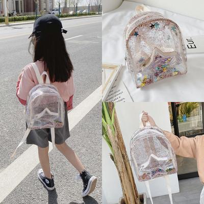 韩版夏儿童糖果色透明果冻女孩双肩包男童书包防水小背包迷你可爱