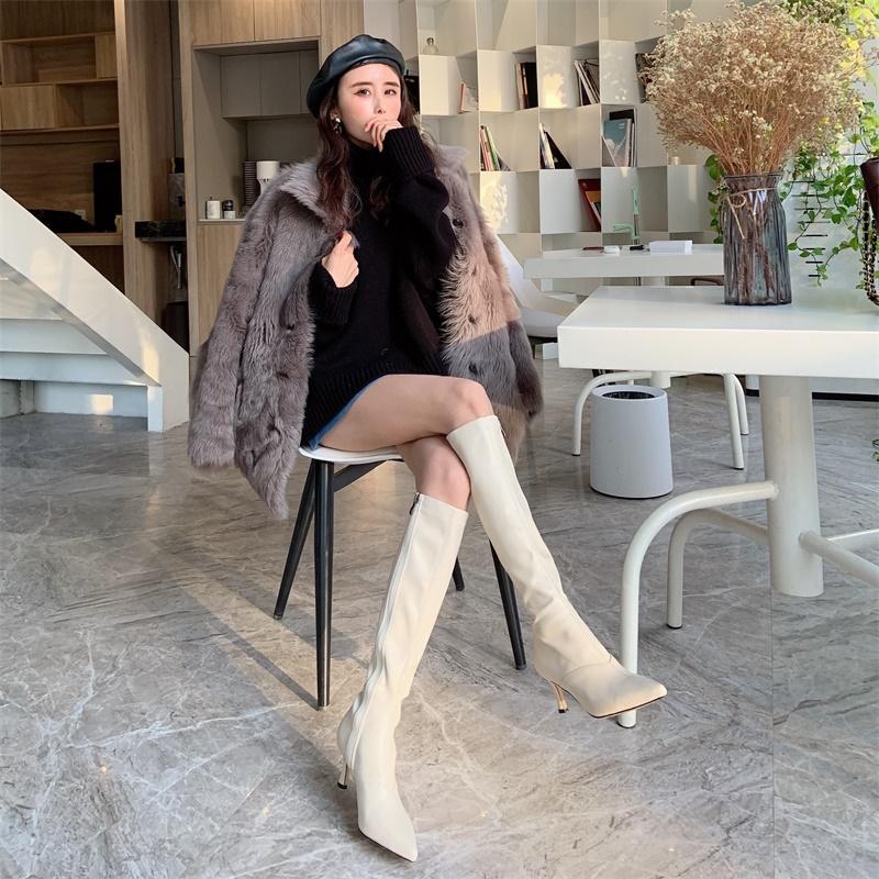 泫雅同款尖头细跟白色长靴女过膝2021新款高筒瘦瘦骑士靴长筒靴子