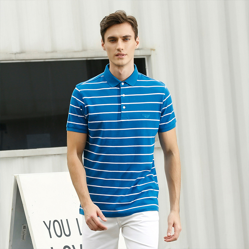 Crocodile shirt 2020 summer mens cotton Lapel stripe fashion casual young and middle-aged short sleeve T-shirt 436012152