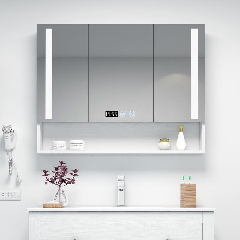 北欧智能浴室镜柜多层实木现代简约卫生间防雾镜箱厕所壁挂储物柜