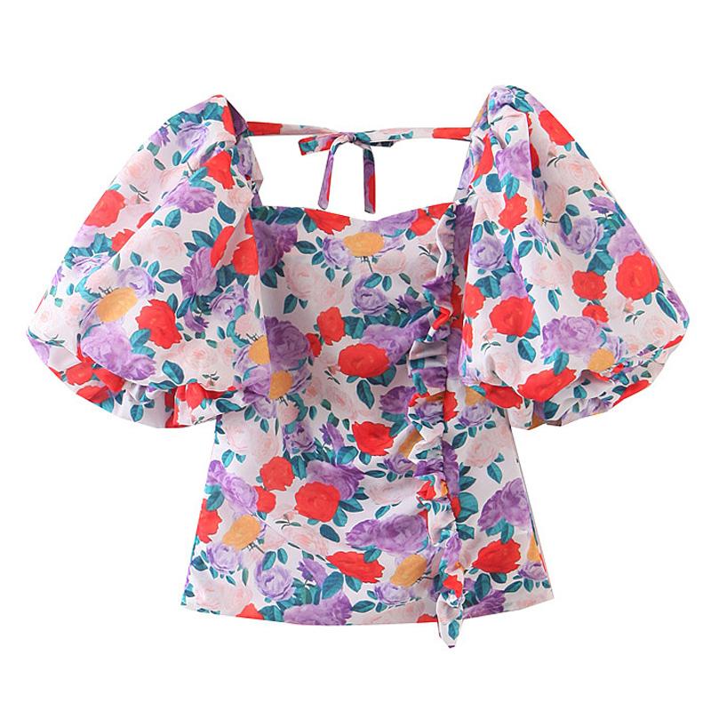 欧美女装  法式夏季新款泡泡袖印花后背系带衬衫宫廷风设计感上衣
