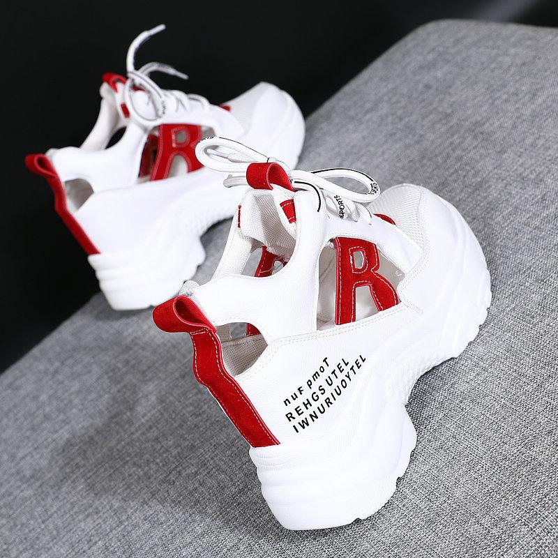 内增高8cm小白鞋女夏季2019新款韩版百搭透气镂空运动网红老爹鞋