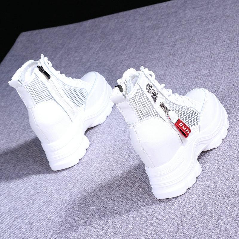 凉靴短筒镂空网纱厚底透气马丁靴2021夏季薄款女真皮内增高短靴女