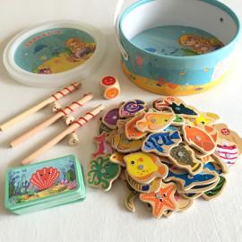 234岁儿童木质磁性钓鱼婴幼儿童玩具海洋动物认知卡亲子游戏礼物图片