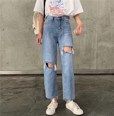 小个子145加小码高腰破洞牛仔裤八分裤女150复古原宿九分直筒裤XS