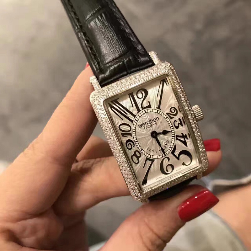 欧美女装手表大数字刻度长方形皮带石英表长岛时尚女表钻石腕表潮
