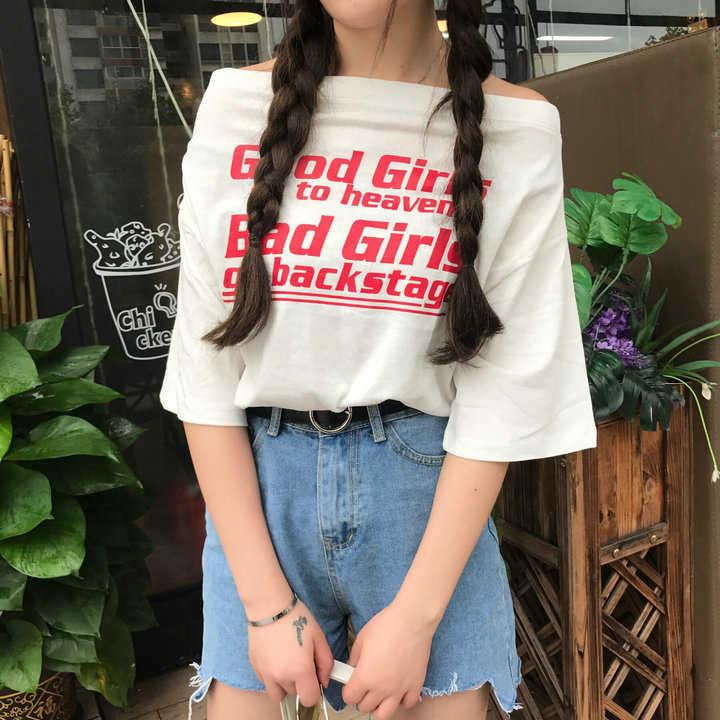 2018夏季韓版短袖一字領露肩斜肩寬鬆印花百搭學院風T恤上衣潮女