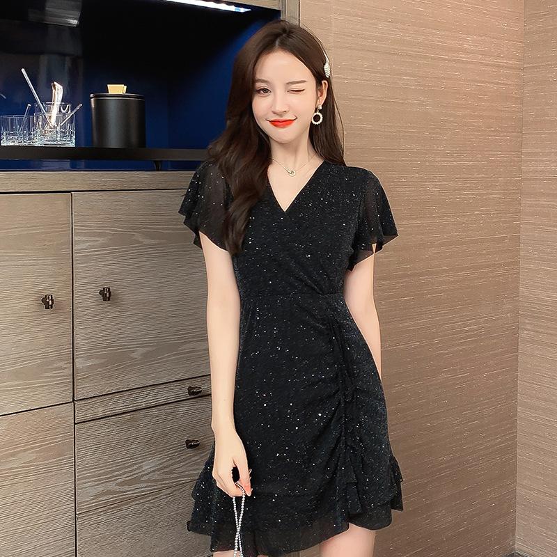 欧洲站2021新款夏季法式少女名媛赫本风小黑裙超仙森系甜美连衣裙