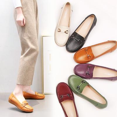 妈妈鞋真皮软底女春秋款舒适软皮鞋豆豆鞋平底牛筋底中年单鞋百搭