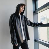 西西里男装秋季男士黑色夹克外套男韩版潮流帅气休闲宽松连帽皮衣