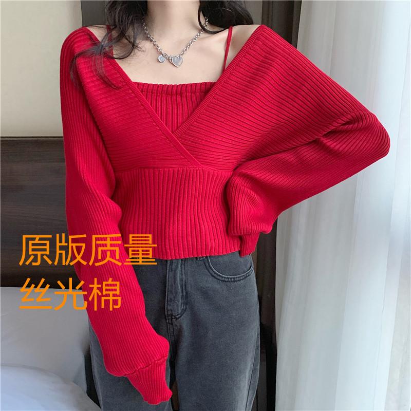 秋季韓版2020新款設計感法式小眾收腰顯瘦假兩件露肩長袖針織衫女