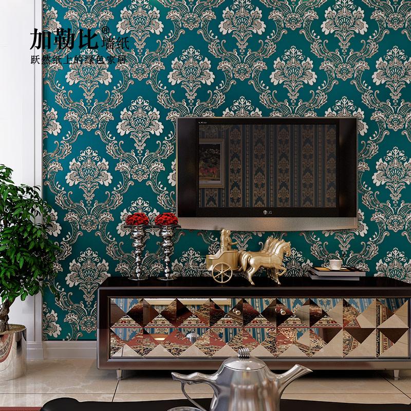 加勒比壁紙 歐式大馬士革條紋AB 款 臥室客廳電視背景牆牆紙