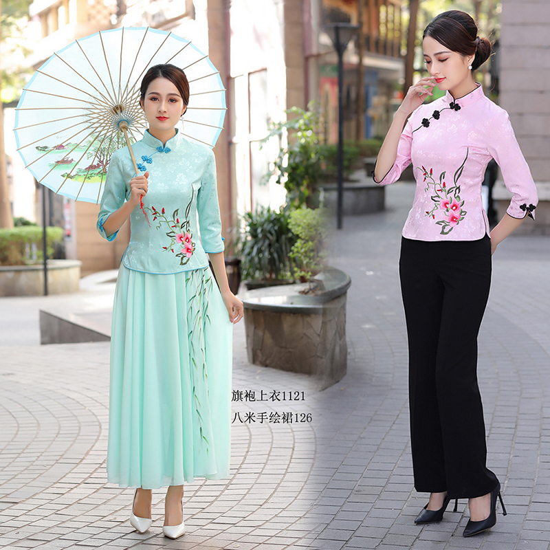 2020春装女士复古唐装汉服两件套中式民国学生风旗袍上衣女茶服