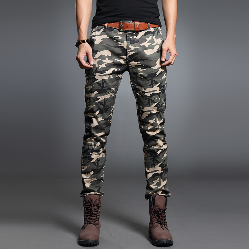 Summer thin stretch casual pants small foot camouflage pants mens casual pants Multi Pocket overalls military pants