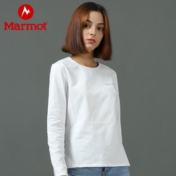 Marmot土拨鼠户外运动2021新款女士透气纯色百搭棉质T恤休闲长袖