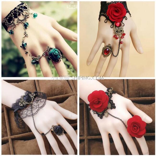 复古甜美蕾丝多层手链戒指一体链组合女手镯新娘结婚手饰