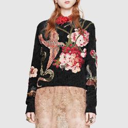 20秋冬新款G家同款 重工水钻花鸟刺绣黑色圆领长袖毛衣女修身显瘦