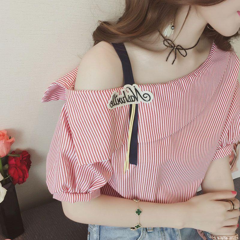 露肩吊带学生t恤夏季韩版少女shirt森系短袖宽松超火小清新上衣