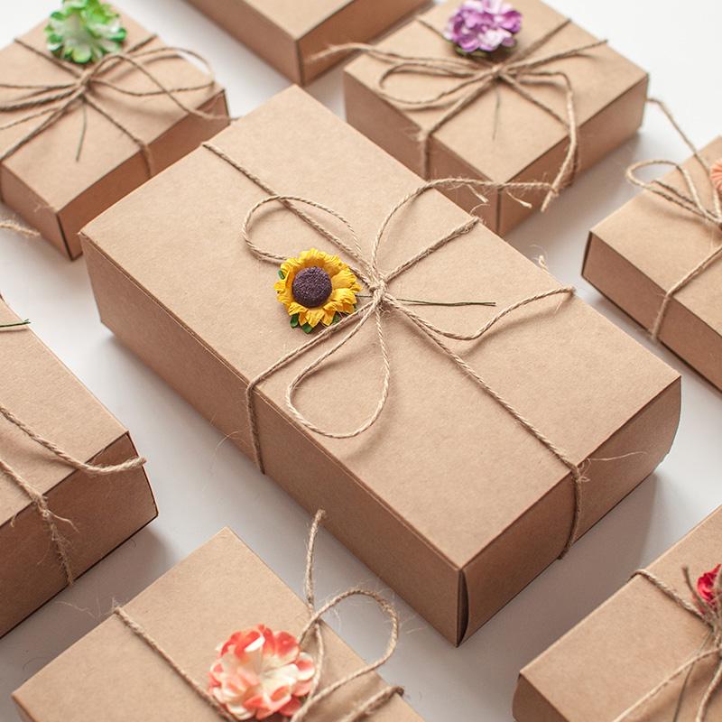 现货牛皮纸盒抽屉式长方形包装礼品盒复古文艺礼品盒商务礼盒