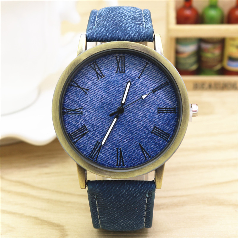 Korean version of the trend of female junior high school student table Roman pattern retro female form leisure table cowboy canvas belt men and women watch