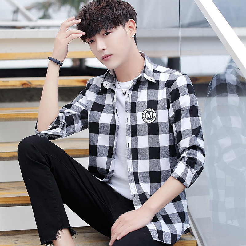 春秋季格子衬衫男士外套韩版潮流修身长袖T恤男装休闲潮牌衬衣服