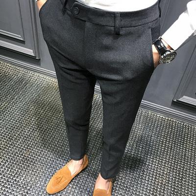 秋季西裤男修身英伦九分裤男韩版裤子男装小脚裤男潮流黑色休闲裤