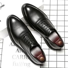夏季男士韩版潮鞋子商务正装尖头透气青年软皮英伦黑色休闲皮鞋男图片