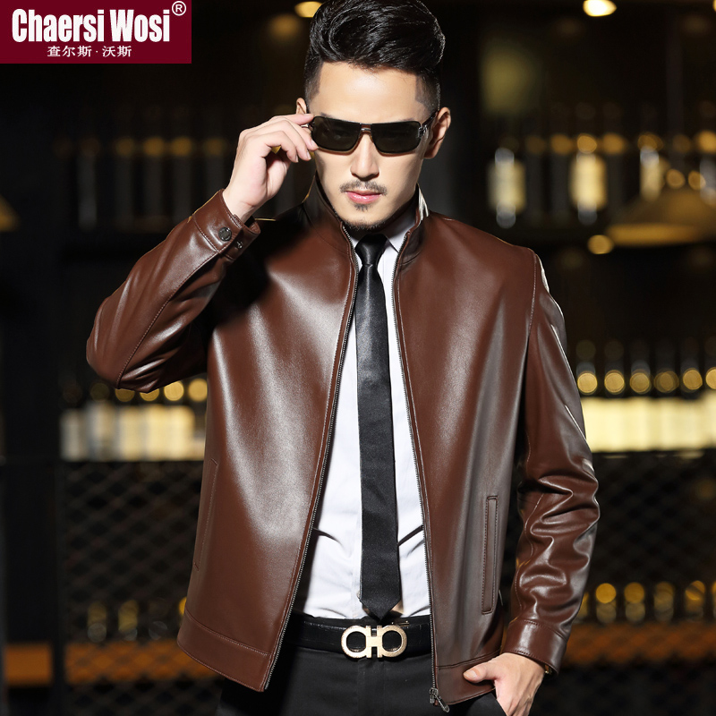 New Haining leather leather men's sheep leather jacket middle-aged and elderly short plus velvet stand collar large size men's thin jacket